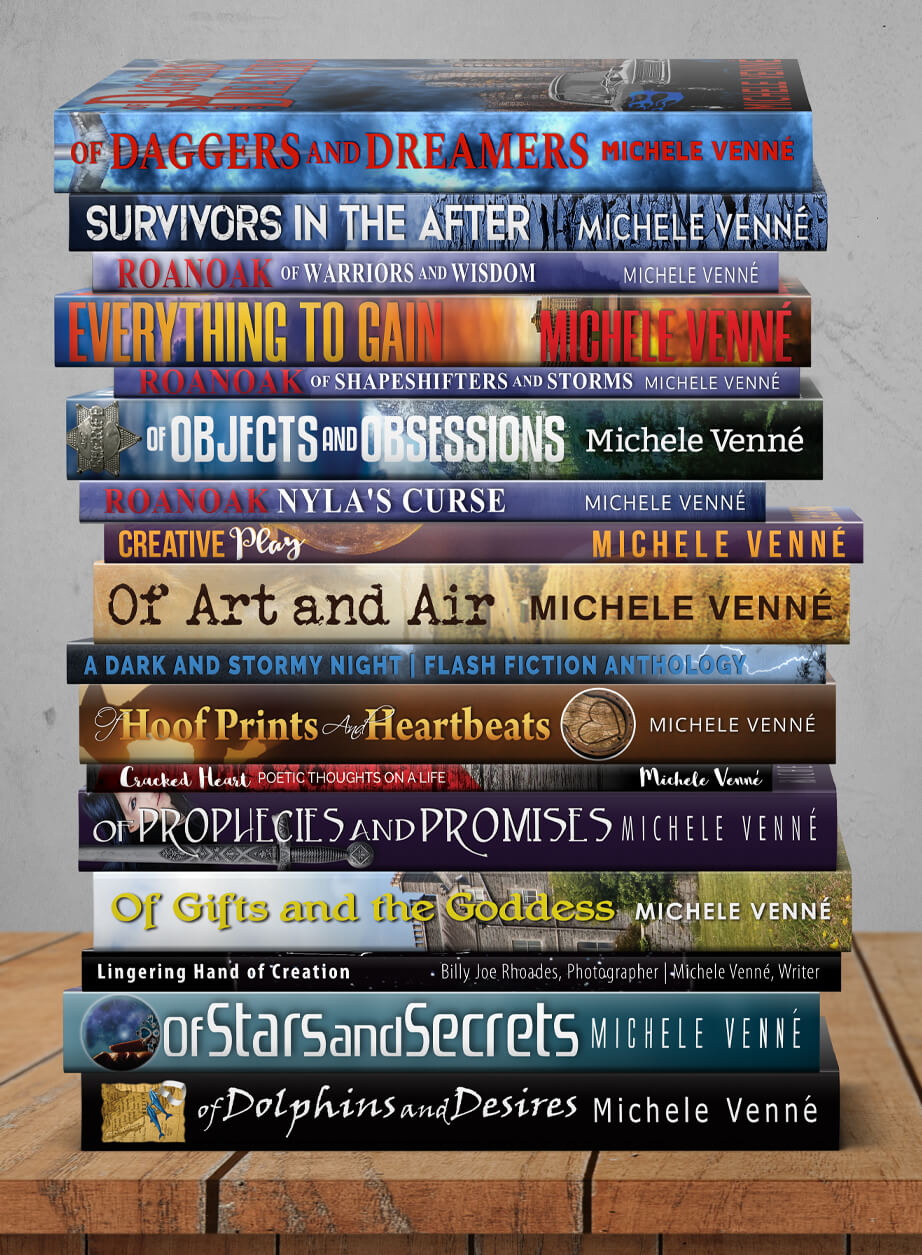 Author Michele Venne-Book Stack of Writings